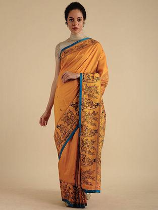 Mustard Madhubani Painted Silk Saree