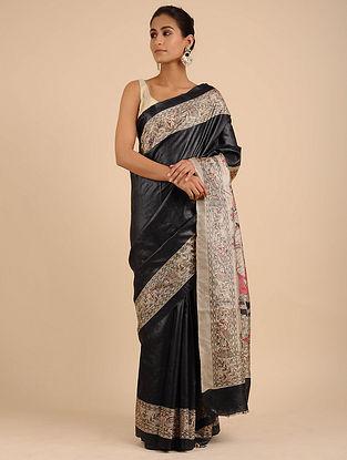 Black Hand Painted Madhubani Tussar Silk Saree