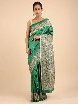 Green Hand Painted Madhubani Tussar Silk Saree
