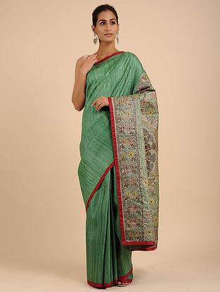 Green Hand Painted Madhubani Ghicha Silk Saree