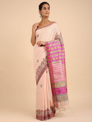 Peach-Pink Hand Painted Madhubani Linen Saree