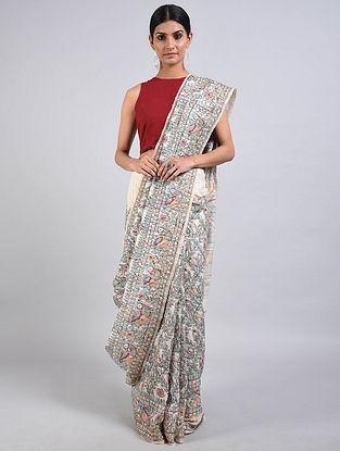Ivory Hand Painted Madhubani Tussar Silk Saree