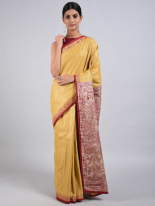 Yellow-Maroon Hand Painted Madhubani Ghicha Silk Saree