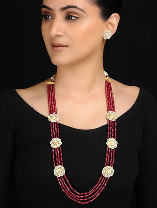 Maroon Gold Tone Kundan Inspired Necklace with Earrings (Set of 2)