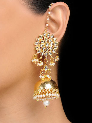 Classic Gold Tone Kundan Inspired Earrings