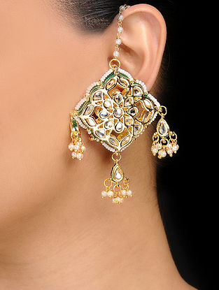 Classic Gold Tone Kundan Inspired Earrings
