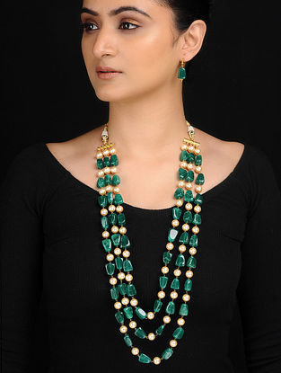 Green-White Pearl Beaded Necklace wih Earrings (Set of 2)