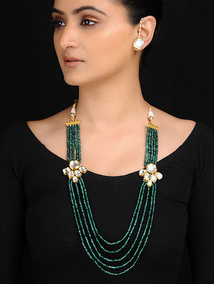 Green Gold Tone Kundan Inspired Necklace with Stud Earrings (Set of 2)
