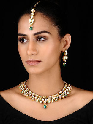 Green Gold Tone Kundan Inspired Necklace with Earrings and Mang Tikka (Set of 3)