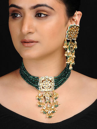 Green Gold Tone Kundan Inspired Necklace with Earrings (Set of 2)