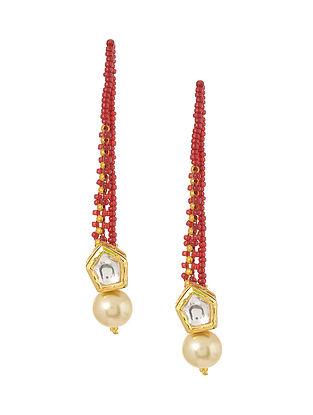 Red-White Gold Tone Kundan Inspired Stud Earrings