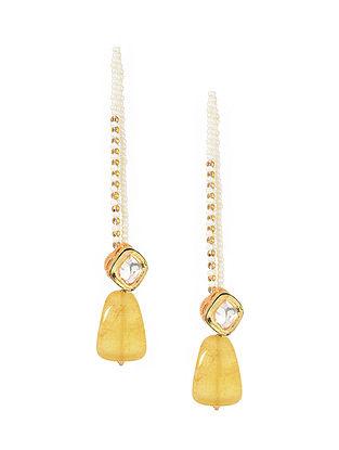 Yellow Gold Tone Kundan Inspired Stud Earrings