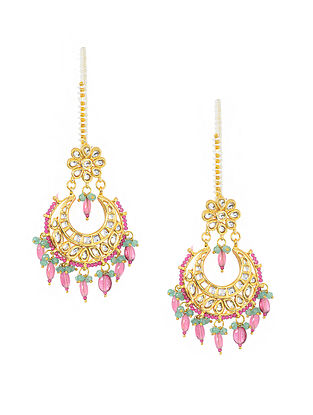 Pink-Green Gold Tone Kundan Inspired Earrings