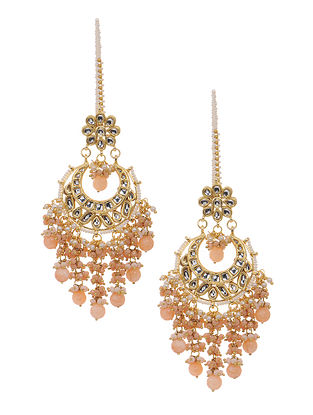 Peach Gold Tone Kundan Inspired Chandbali Earrings