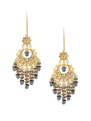 Blue Gold Tone Kundan Inspired Chandbali Earrings