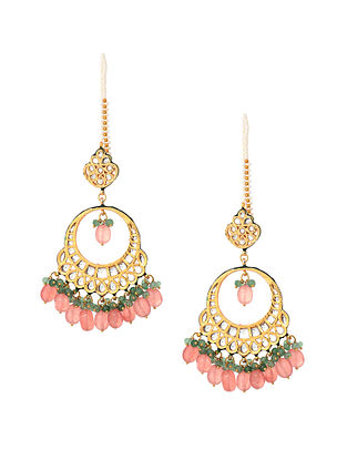 Orange-Green Kundan Inspired Earrings