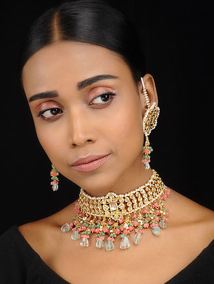 Orange-Green Gold Tone Kundan Inspired Choker Necklace with Earrings (Set of 2)