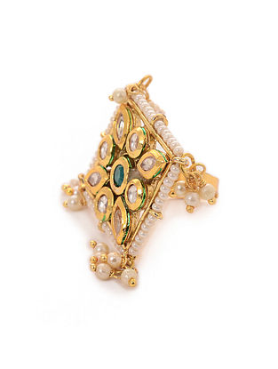 Green Gold Tone Kundan Inspired Adjustable Ring