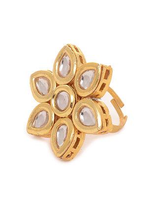 Classic Gold Tone Kundan Inspired Adjustable Ring