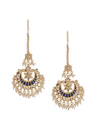 Blue Gold Tone Kundan Inspired Meenakari Earrings