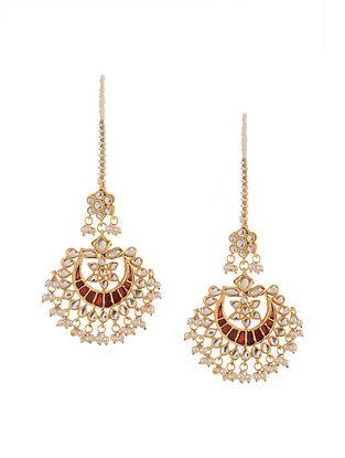 Red Gold Tone Kundan Inspired Meenakari Earrings