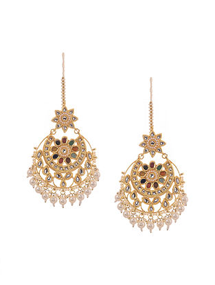 Multicolored Gold Tone Kundan Inspired Navratan Earrings