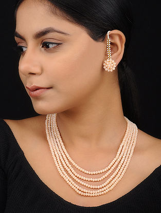 Peach Crystal Necklace with Stud Earrings (Set of 2)