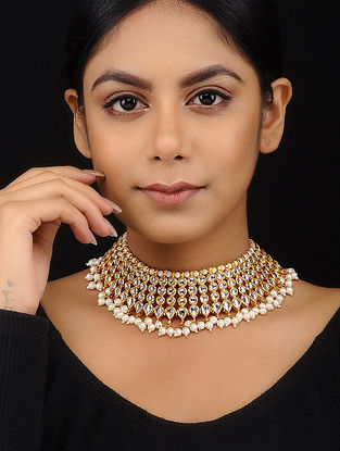 Classic Gold Tone Kundan Inspired Choker Necklace