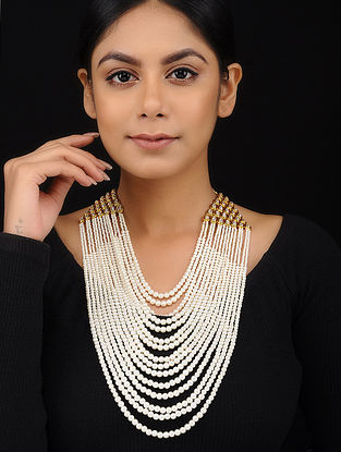 Classic Gold Tone Kundan Inspired Pearl Necklace