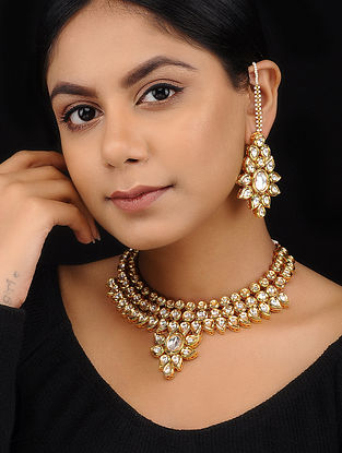 Classic Gold Tone Kundan Inspired Choker Necklace with Earrings