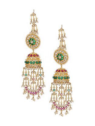 Pink Green Gold Tone Kundan Jhumki Earrings with Pearls