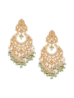 Gold Tone Kundan Earrings with Pearls