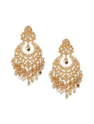 Gold Tone Kundan Earrings with Fluorite
