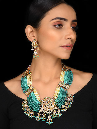 Blue Onyx Gold Tone Kundan Necklace with Earrings (Set of 2)