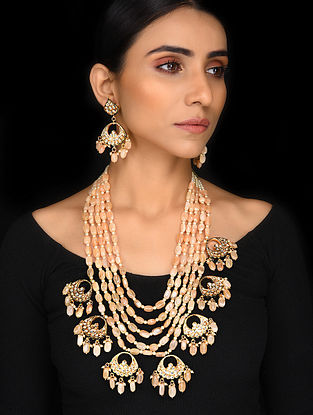 Brown Onyx Gold Tone Kundan Necklace with Earrings (Set of 2)