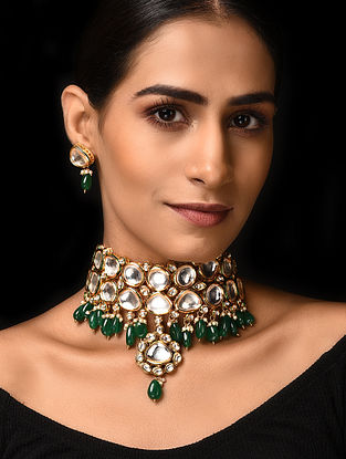 Emerald Gold Tone Kundan Necklace with Earrings (Set of 2)