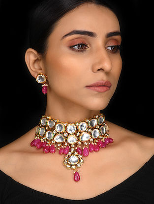 Ruby Gold Tone Kundan Necklace with Earrings (Set of 2)