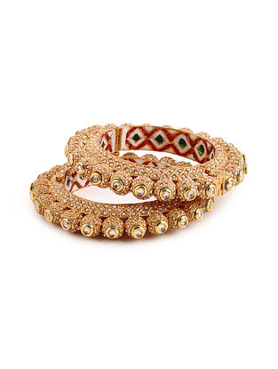 Gold Tone Kundan Bangles with Pearls (Bangle Size: 2/6) (Set of 2)