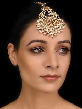 Red Gold Tone Kundan Maang Tikka with Pearls