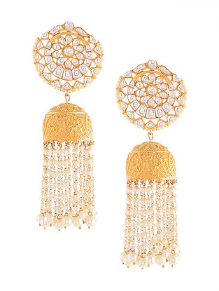 Gold Tone Jhumki Earrings with Pearls
