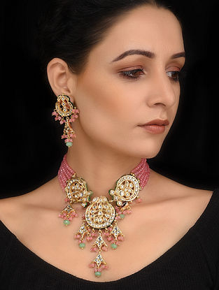 Pink and Blue Onyx Gold Tone Kundan Necklace with Earrings (Set of 2)