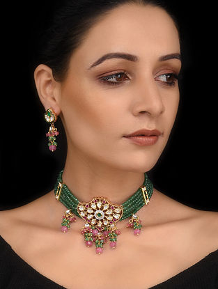 Pink and Green Onyx Gold Tone Kundan Necklace with Earrings (Set of 2)