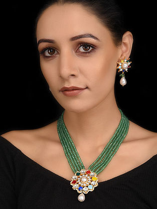 Multicolored Gold Tone Navratan Necklace with Earrings (Set of 2)
