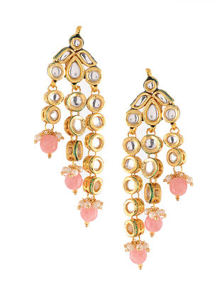 Pink Gold Tone Kundan Earrings with Pearls