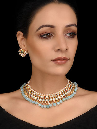 Mint Blue Gold Tone Kundan Necklace with Stud Earrings (Set of 2)