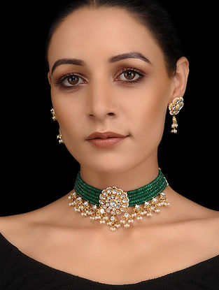 Green Onyx Gold Tone Kundan Necklace with Earrings (Set of 2)