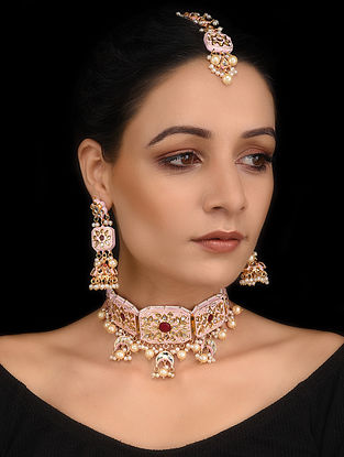 Pink Maroon Gold Tone Meenakari Necklace with Earrings and Maang Tikka (Set of 3)