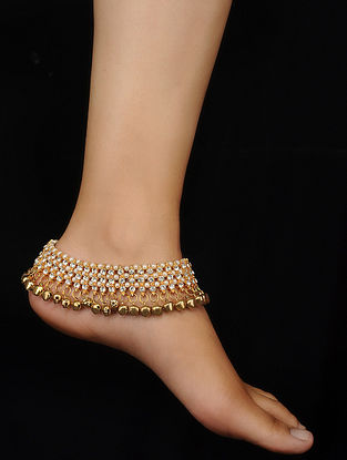 Gold Tone Kundan Pearl Beaded Anklets