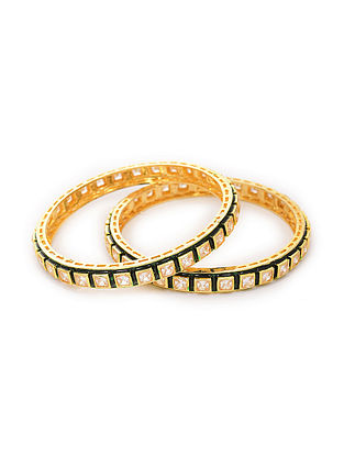 Green Enameled Gold Tone Kundan Bangles (Set of 2) (Bangle Size-2/8)