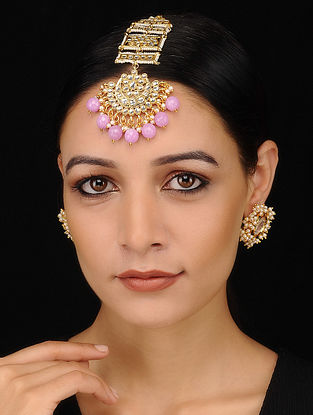 Pink Gold Tone Beaded Kundan Maang Tikka with Earrings (Set of 2)